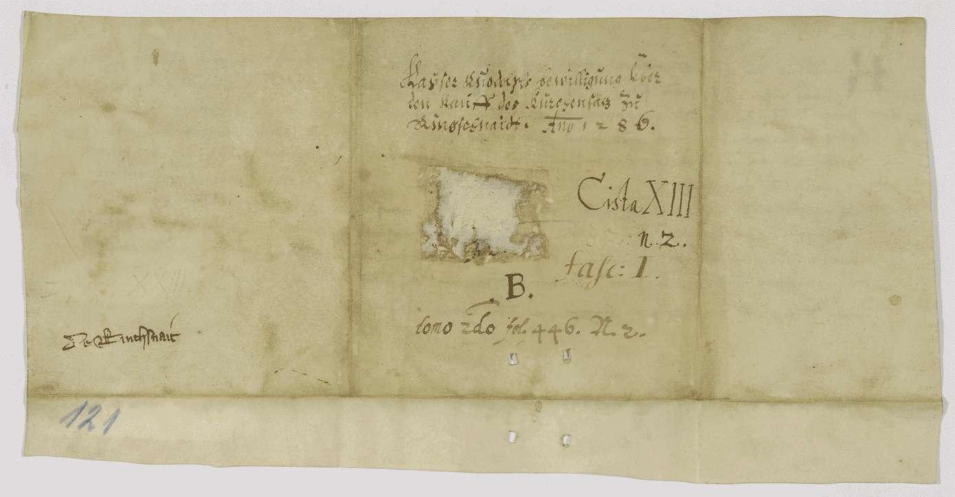 König Rudolf bestätigt den Verkauf des Patronatrechts in Ringschnait und von Gütern in Rottum und Ehrensberg an Kloster Ochsenhausen., Bild 2