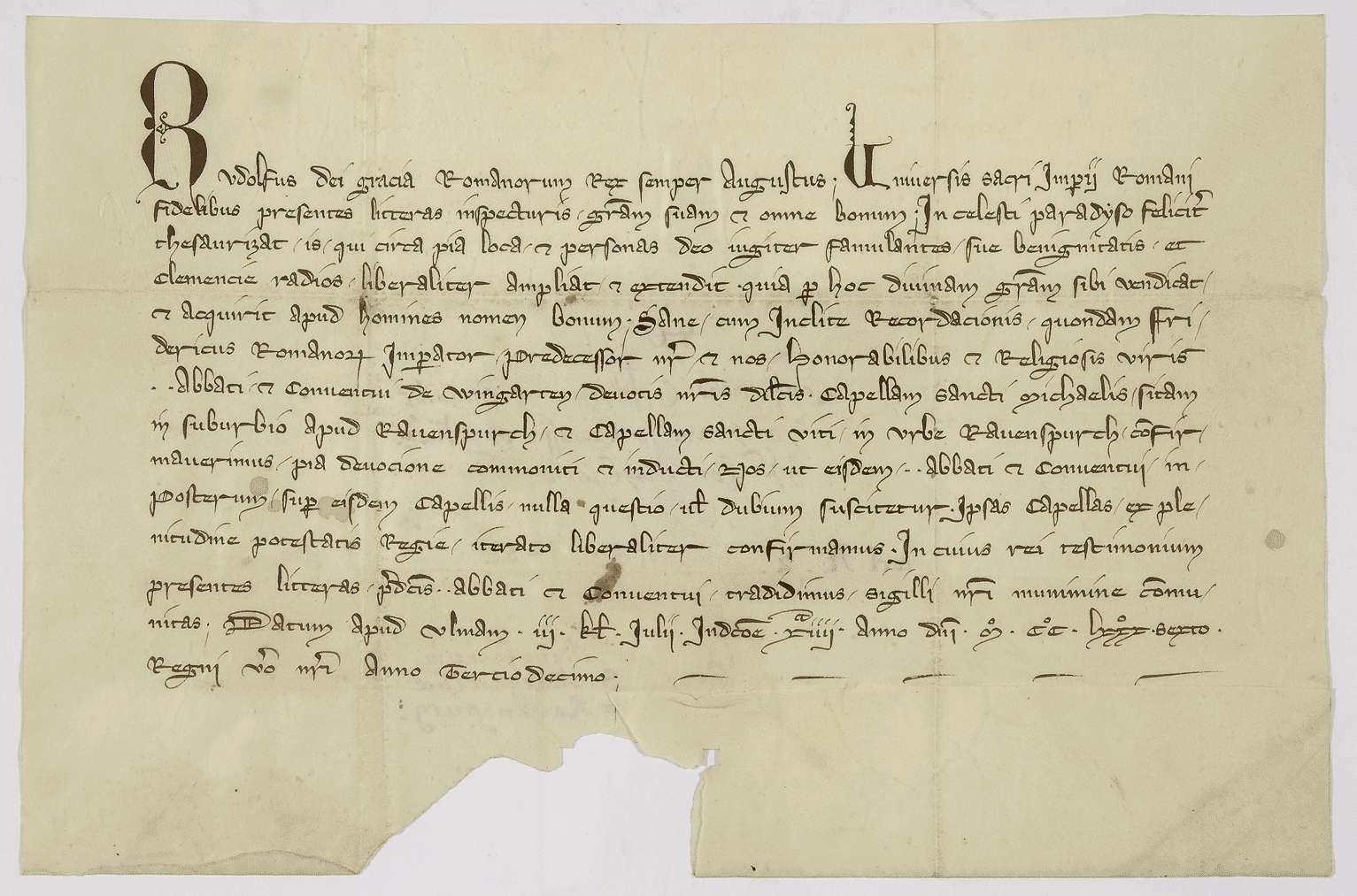 König Rudolf bestätigt dem Kloster Weingarten den Besitz der Kapellen zu St. Michael und St. Veit in Ravensburg., Bild 1