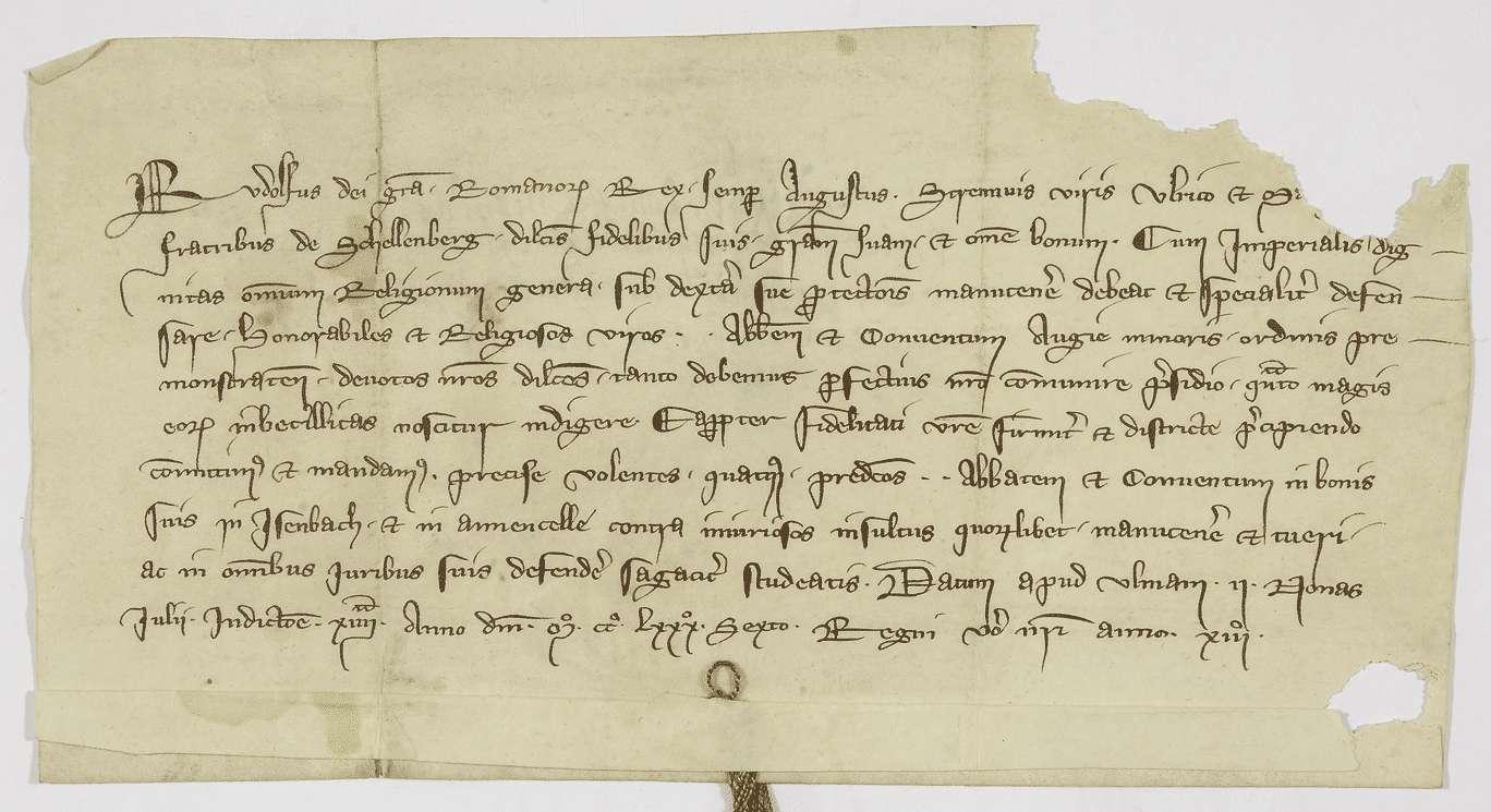 König Rudolf gebietet den Brüdern Ulrich und Marquard von Schellenberg, das Kloster Weißenau in seinen Besitzungen in Eisenbach und Amtzell zu schützen., Bild 1