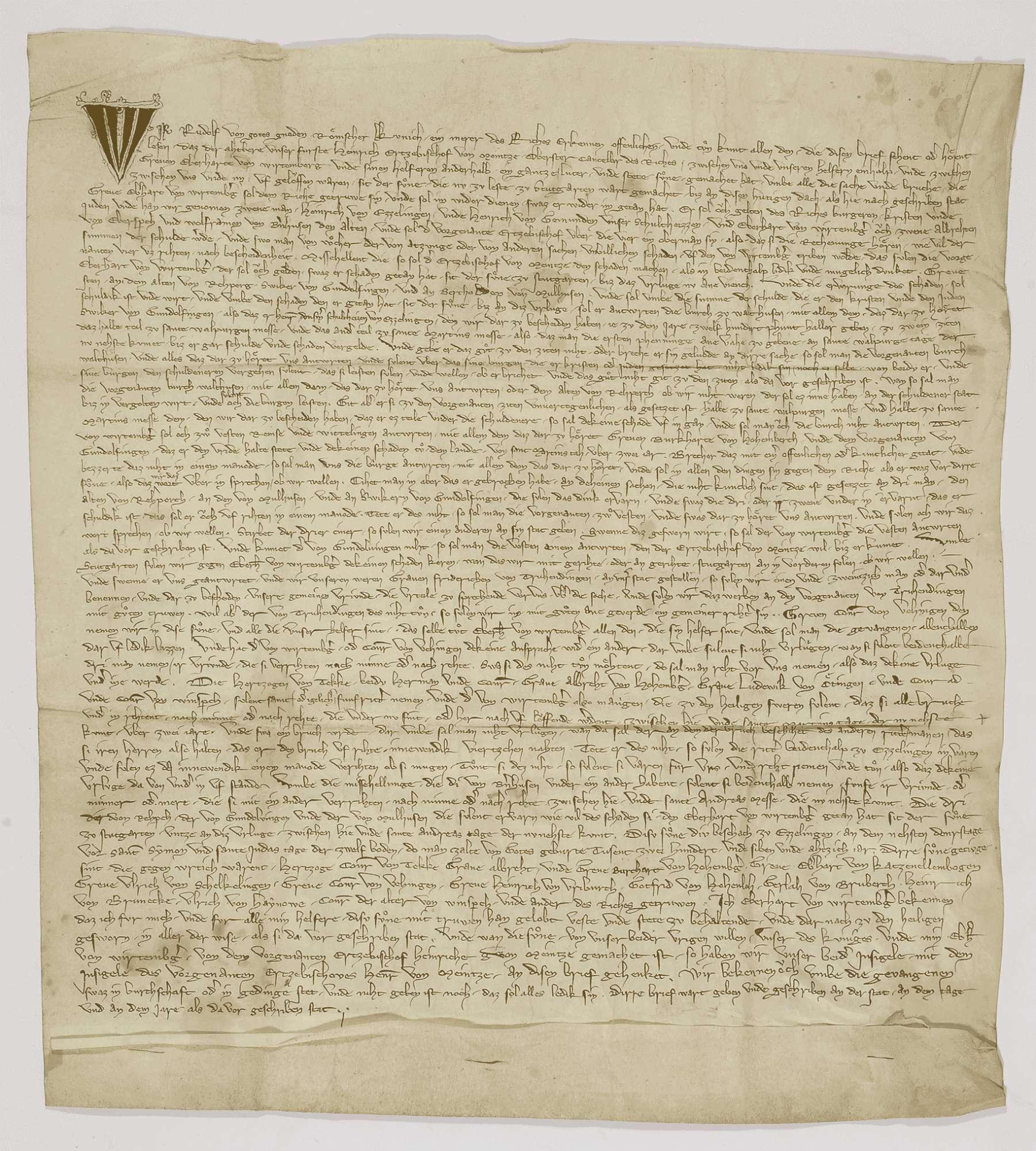 König Rudolf beurkundet die zwischen ihm und Graf Eberhard von Württemberg durch den Erzbischof Heinrich von Mainz zustande gebrachte Sühne., Bild 1