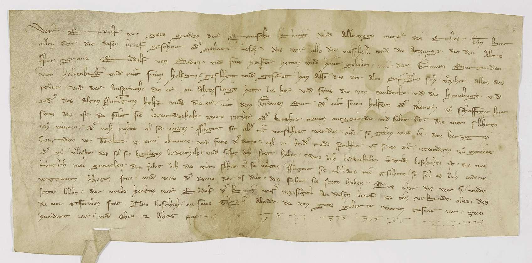 König Rudolf schlichtet den Streit zwischen Markgraf Rudolf von Baden und Graf Burkhard von Hohenberg um Altensteig., Bild 1