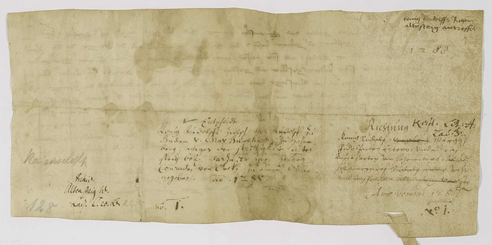 König Rudolf schlichtet den Streit zwischen Markgraf Rudolf von Baden und Graf Burkhard von Hohenberg um Altensteig., Bild 2