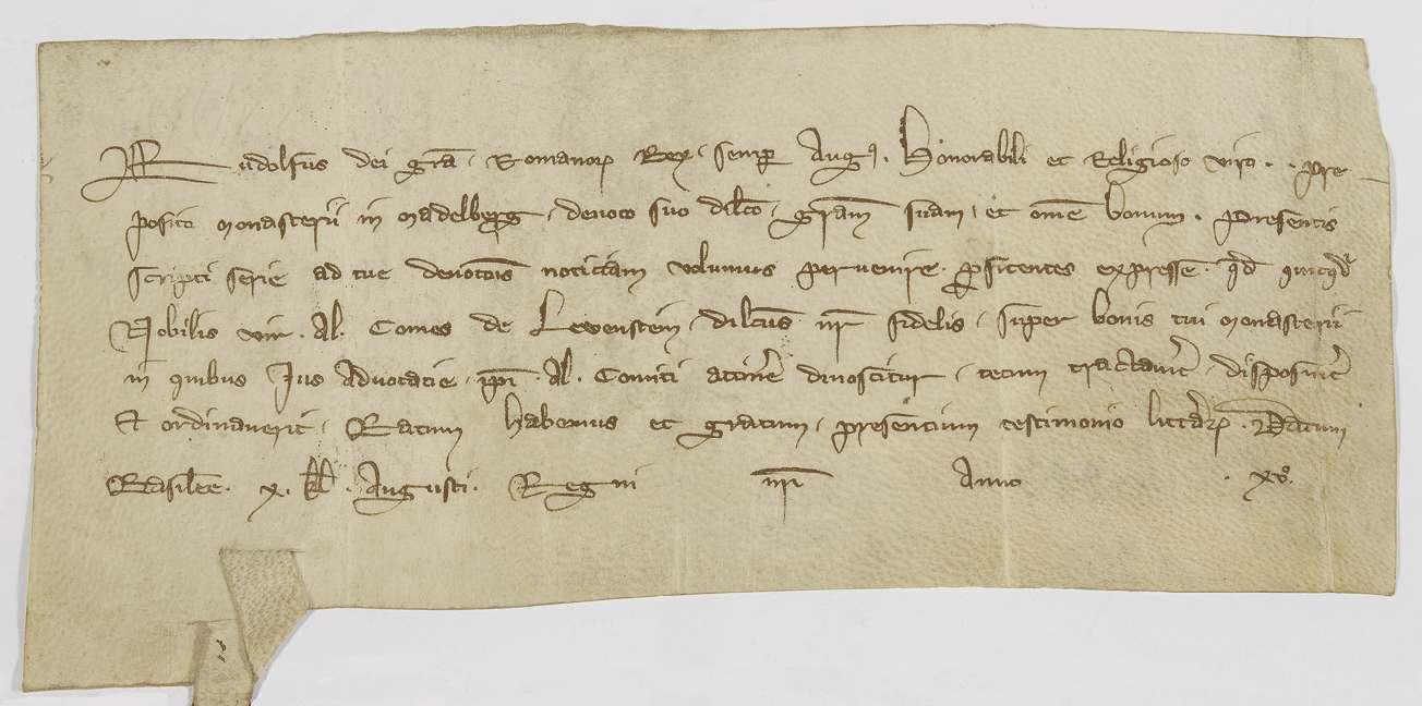 König Rudolf bestätigt die Abmachungen zwischen dem Propst von Adelberg und dem Grafen Albrecht von Löwenstein betreffend die Vogtei über Güter des Klosters Adelberg., Bild 1