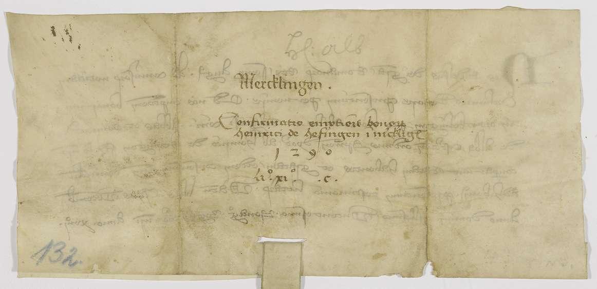 König Rudolf bestätigt den Verkauf von Gütern in Merklingen durch seinen Getreuen Heinrich von Höfingen an Kloster Herrenalb., Bild 2