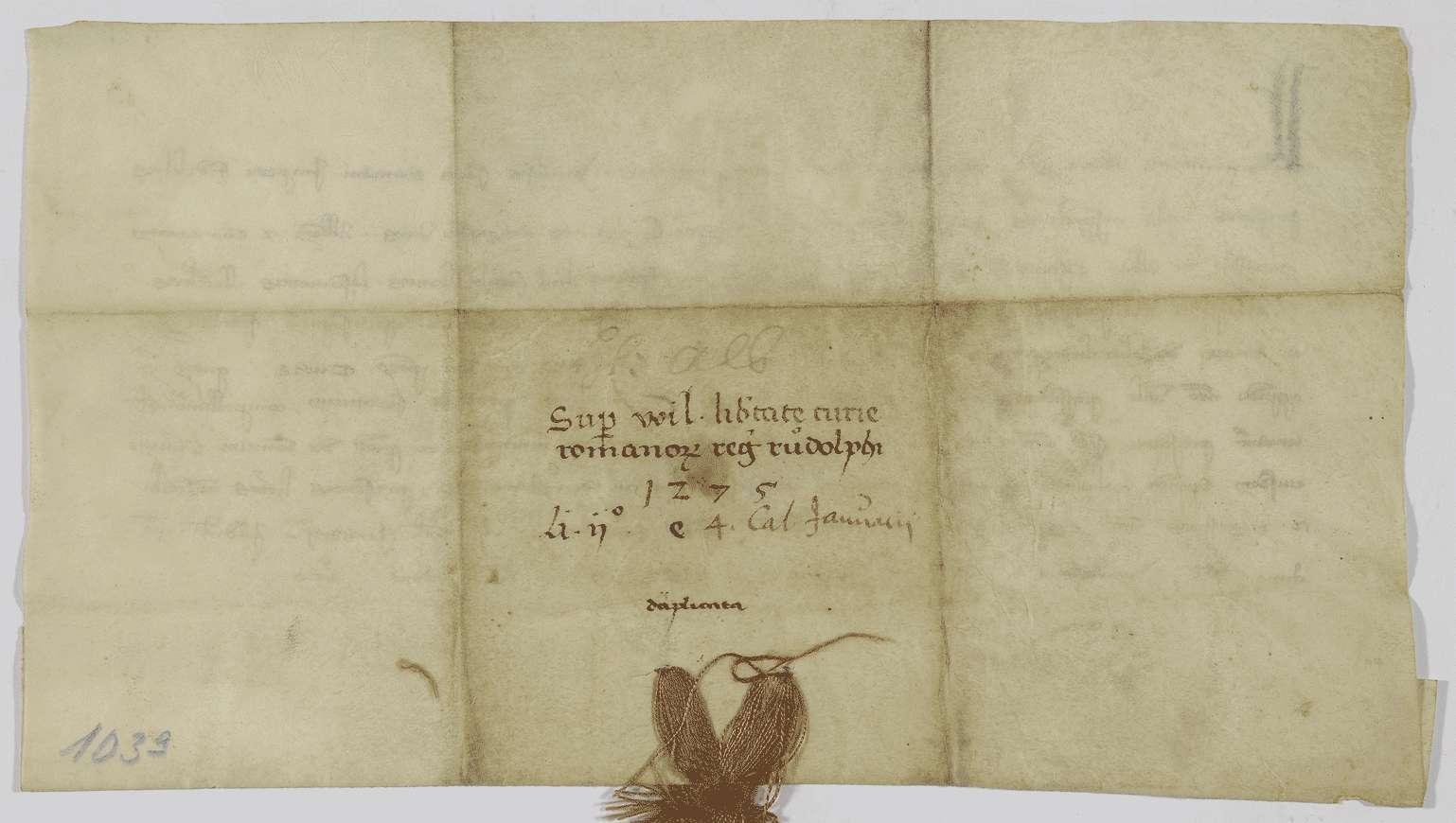König Rudolf befreit den Hof des Klosters Herrenalb in seiner Stadt Weil von Bede, Steuer und allen Diensten., Bild 2