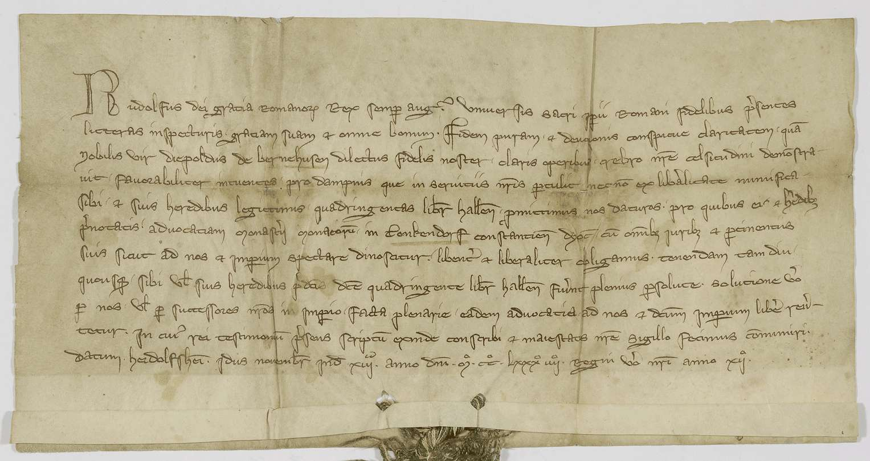 König Rudolf verpfändet Diebold von Bernhausen die Vogtei des Stifts Denkendorf um 400 Pfund Heller., Bild 1