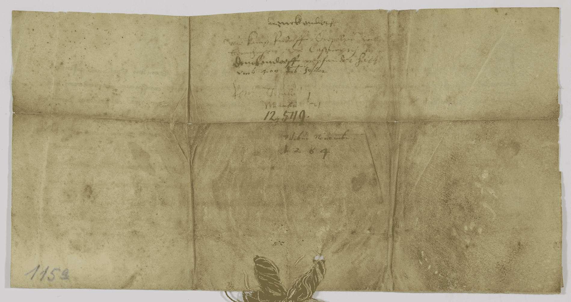 König Rudolf verpfändet Diebold von Bernhausen die Vogtei des Stifts Denkendorf um 400 Pfund Heller., Bild 2