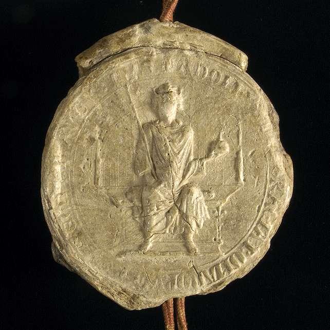 König Adolf von Nassau bestätigt dem Kloster Weingarten die wörtlich eingerückte Urkunde König Rudolfs von 1274 April 6, die den falschen Schirmbrief Kaiser Friedrichs I. von 1155 September 23 enthält., Bild 3
