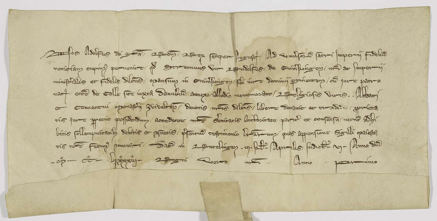 König Adolf von Nassau beurkundet die Schenkung des Patronatrechts in Zell durch den Reichsdienstmann Rudolf von Emerkingen an Kloster Zwiefalten., Bild 1