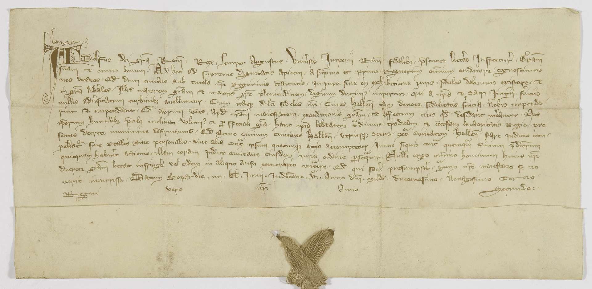 König Adolf von Nassau verleiht den Bürgern von Hall das privilegium de non evocando., Bild 1