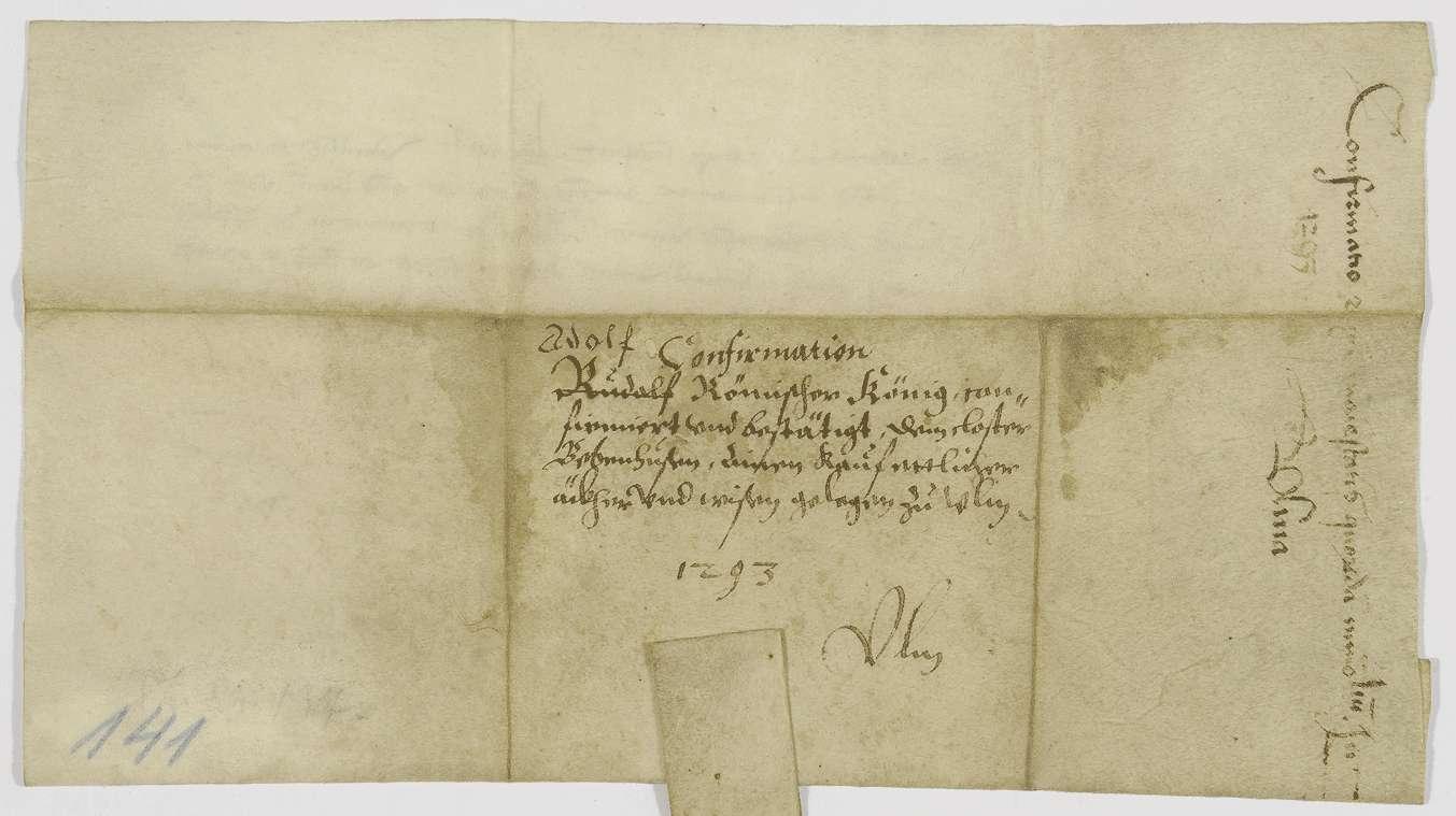 König Adolf von Nassau bestätigt dem Kloster Bebenhausen den Besitz der von dem Amman Otto von Ulm gekauften Güter., Bild 2