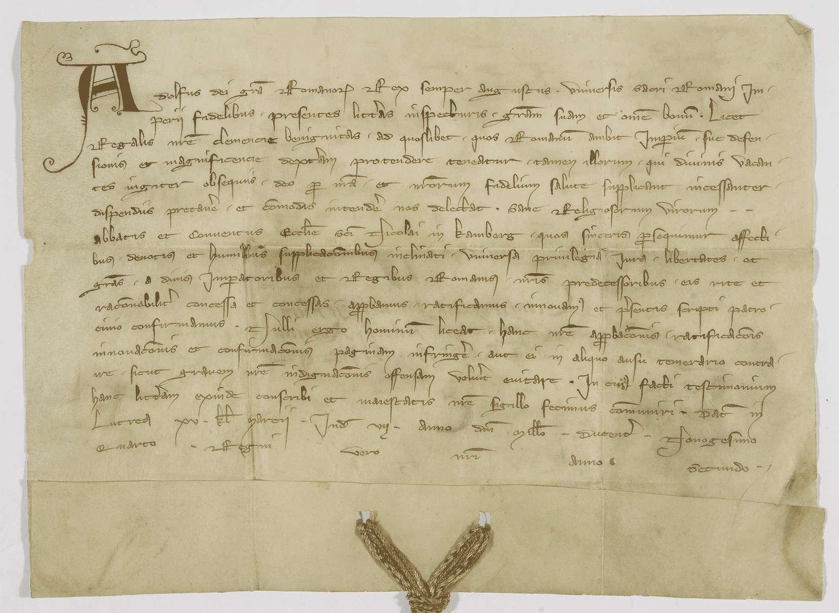 König Adolf von Nassau bestätigt dem Kloster Comburg alle von seinen Vorgängern erhaltenen Privilegien und Freiheiten., Bild 1