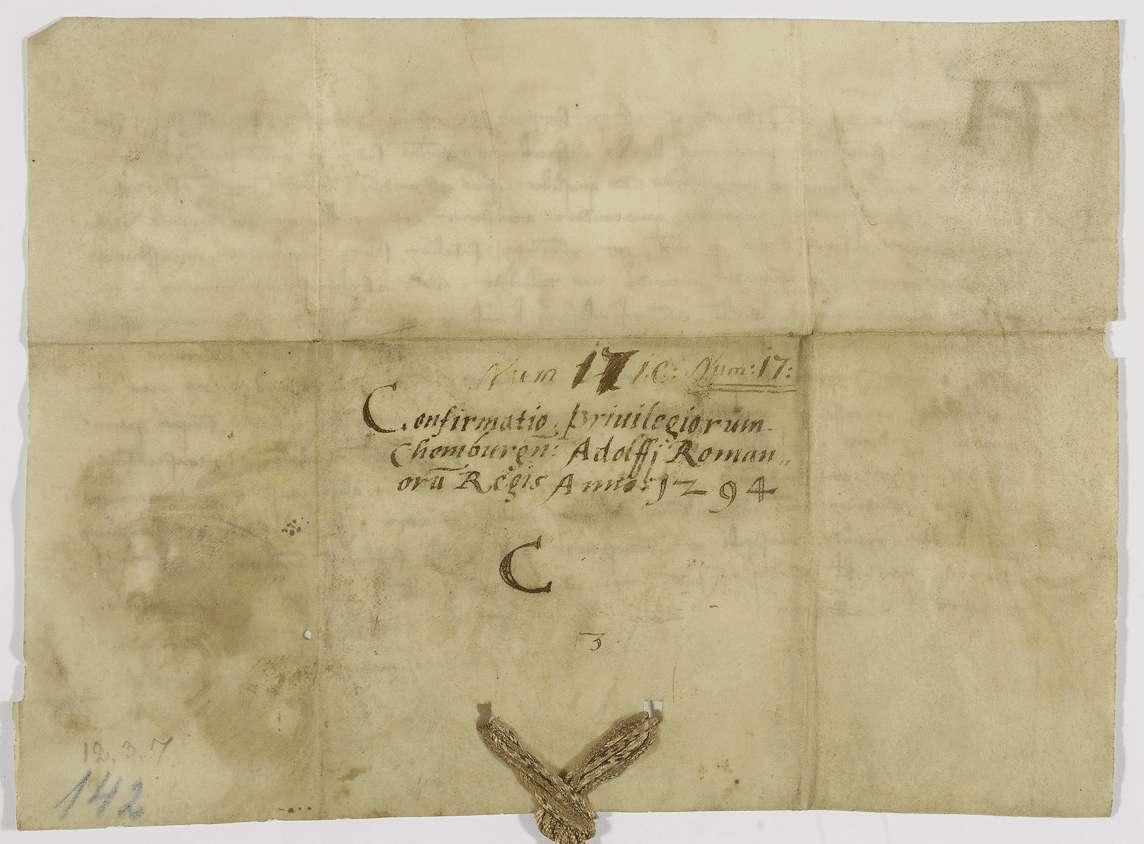 König Adolf von Nassau bestätigt dem Kloster Comburg alle von seinen Vorgängern erhaltenen Privilegien und Freiheiten., Bild 2