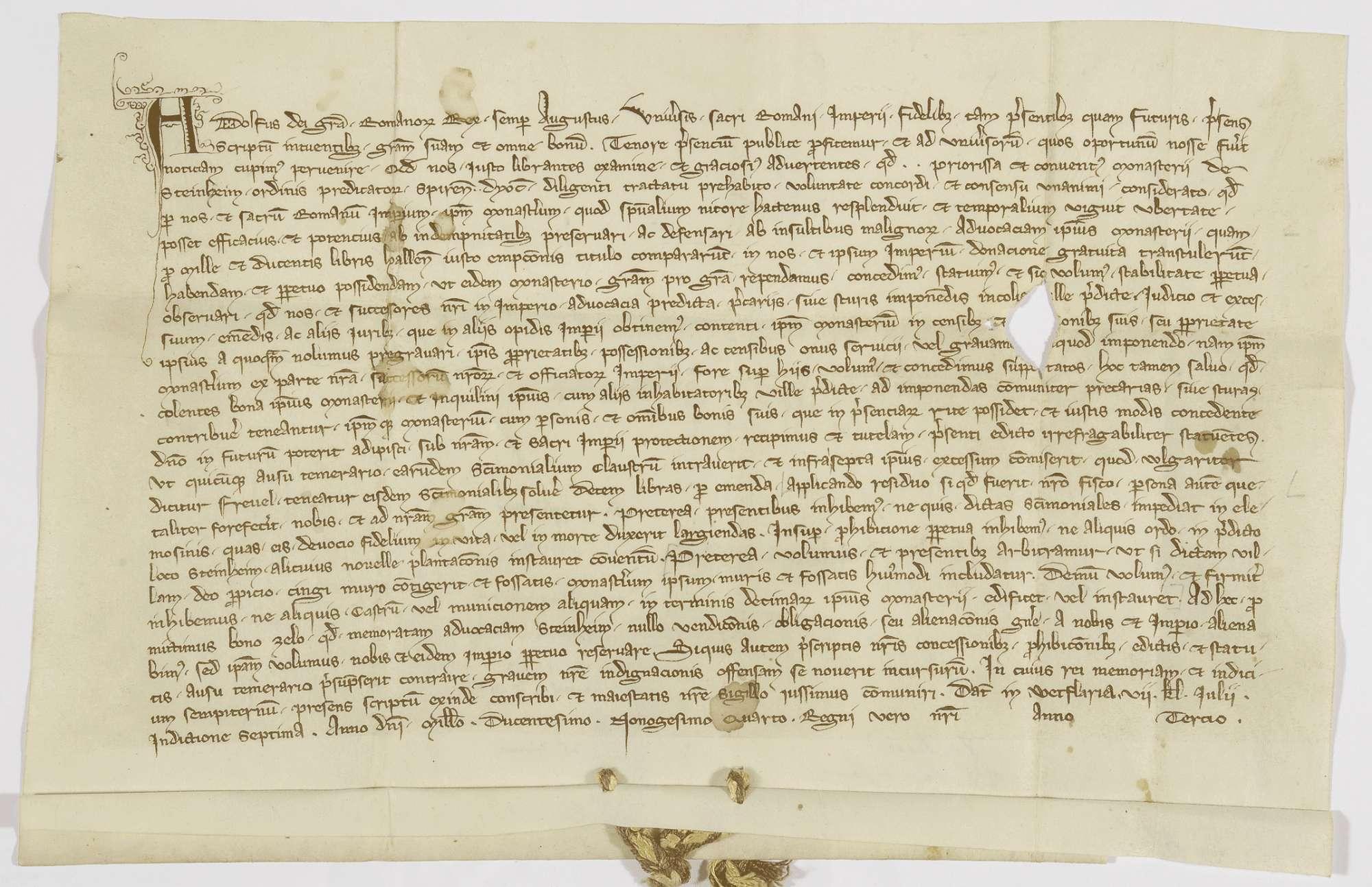 König Adolf von Nassau übernimmt die Vogtei des Klosters Steinheim und setzt seine und des Klosters Rechte fest., Bild 1