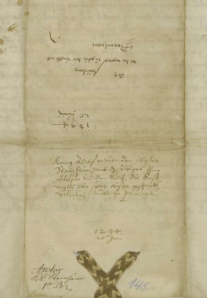König Adolf von Nassau übernimmt die Vogtei des Klosters Steinheim und setzt seine und des Klosters Rechte fest., Bild 2