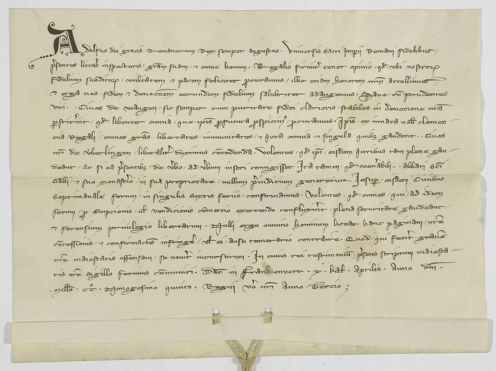 König Adolf von Nassau verleiht der Stadt Wangen Überlinger Recht, unter Wahrung der Besitzrechte von St. Gallen, und einen Wochenmarkt., Bild 1