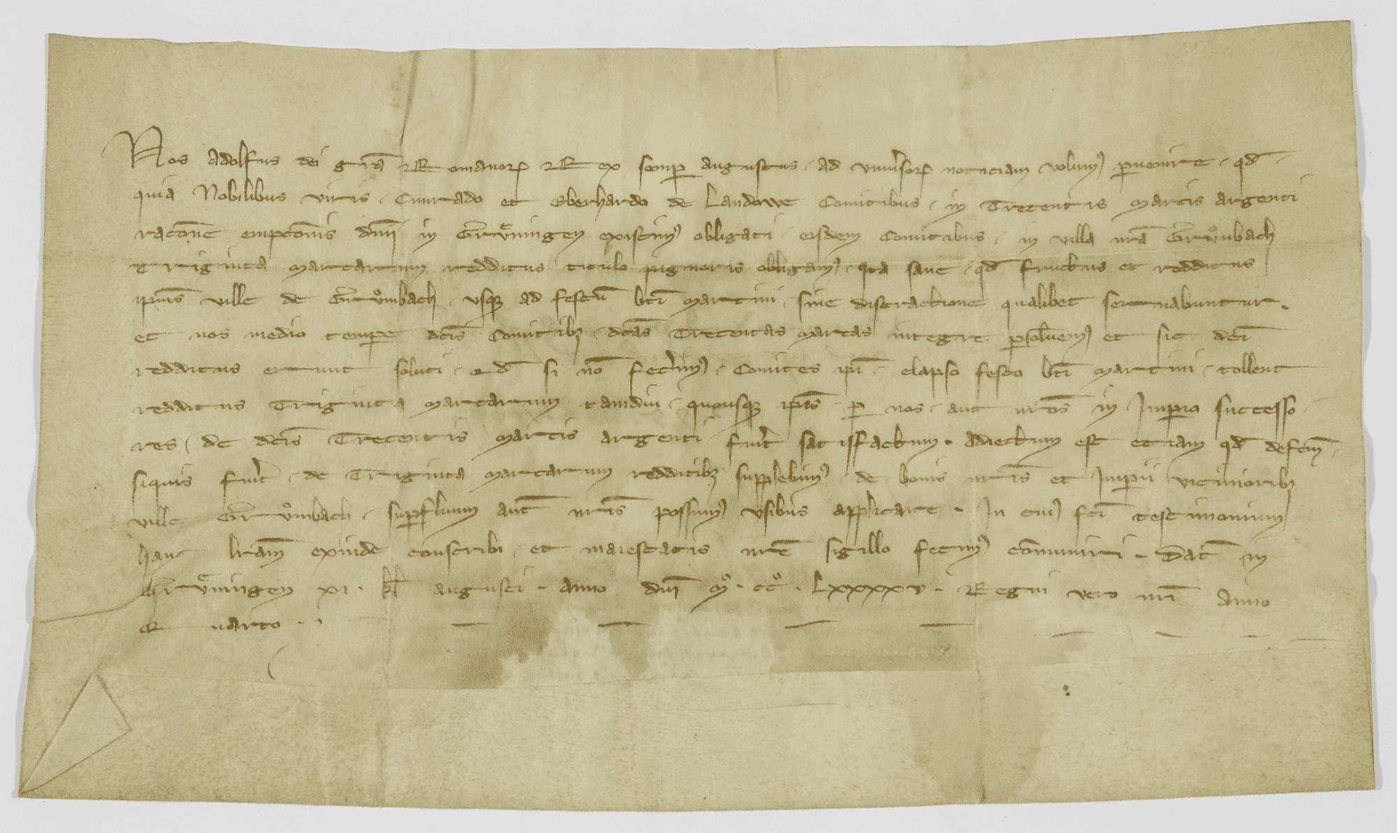 König Adolf von Nassau verpfändet den Grafen von Landau für den Rest des Kaufpreises der Herrschaft Gröningen die Einkünfte des Dorfes Grumbach., Bild 1