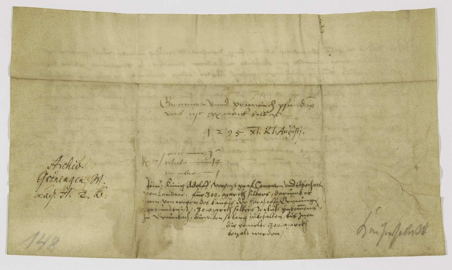 König Adolf von Nassau verpfändet den Grafen von Landau für den Rest des Kaufpreises der Herrschaft Gröningen die Einkünfte des Dorfes Grumbach., Bild 2
