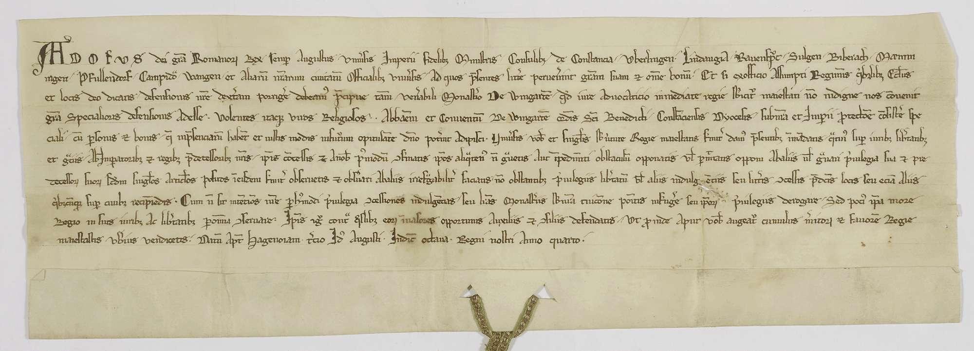 König Adolf von Nassau verbietet den schwäbischen Reichsstädten, das in seinem Schutz stehende Kloster Weingarten in seinen Privilegien, besonders in betreff der Bürgerannahme, irgendwie zu beeinträchtigen., Bild 1