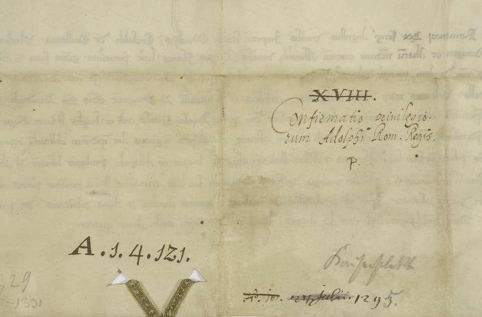 König Adolf von Nassau verbietet den schwäbischen Reichsstädten, das in seinem Schutz stehende Kloster Weingarten in seinen Privilegien, besonders in betreff der Bürgerannahme, irgendwie zu beeinträchtigen., Bild 2