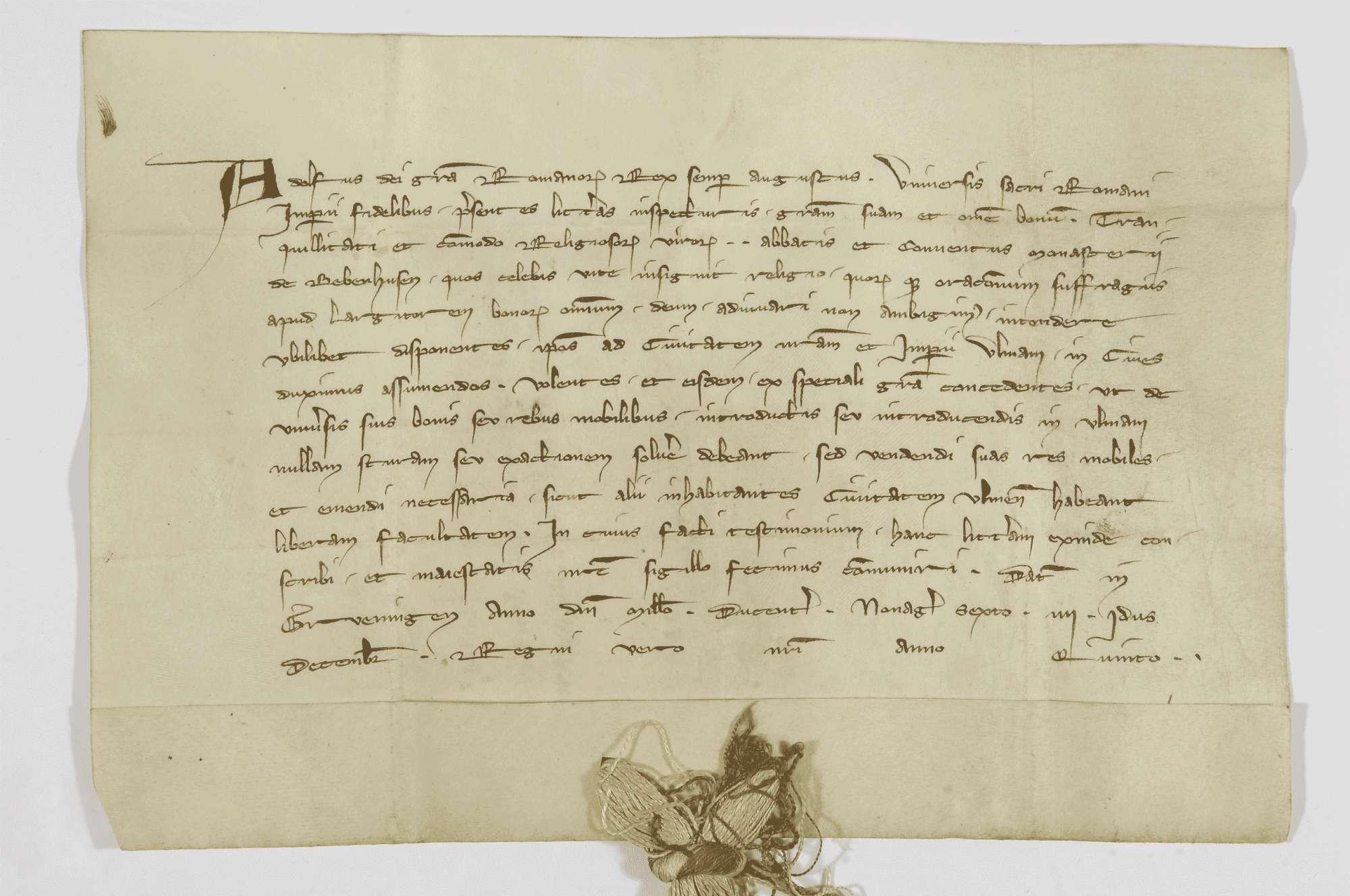 König Adolf von Nassau verleiht dem Kloster Bebenhausen das Bürgerrecht in Ulm mit voller Zoll- und Handelsfreiheit in dieser Stadt., Bild 1
