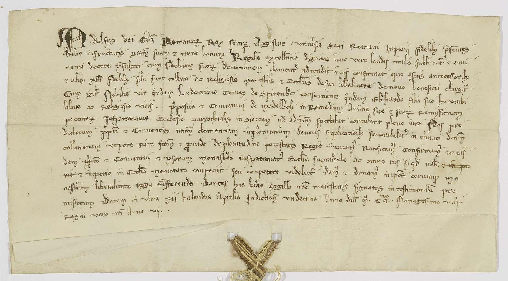 König Adolf von Nassau bestätigt dem Kloster Adelberg die Schenkung, die ihm weiland Graf Ludwig von Spitzenberg mit dem Patronatsrecht in [Groß-]Süßen gemacht hat., Bild 1