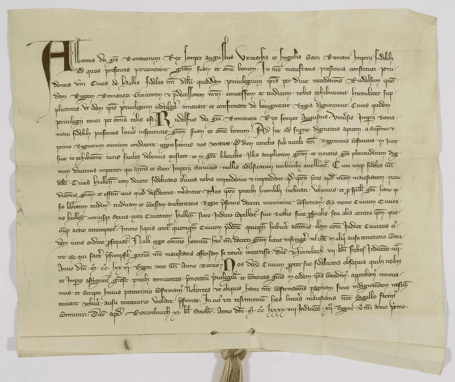 König Albrecht bestätigt der Stadt Hall das von König Rudolf ihr verliehene privilegium de non evocando., Bild 1