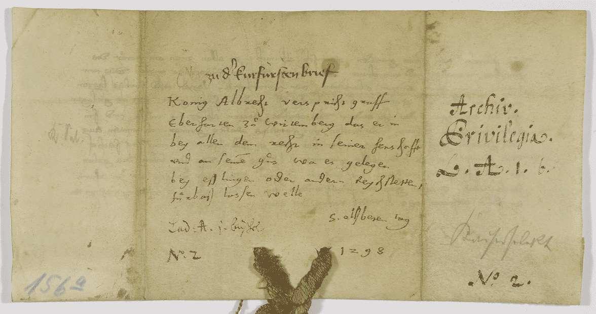 König Albrecht verspricht, den Grafen Eberhard von Württemberg bei allem Recht in seiner Herrschaft und an seinen Gütern in Esslingen und anderen Reichsstädten bleiben zu lassen., Bild 2