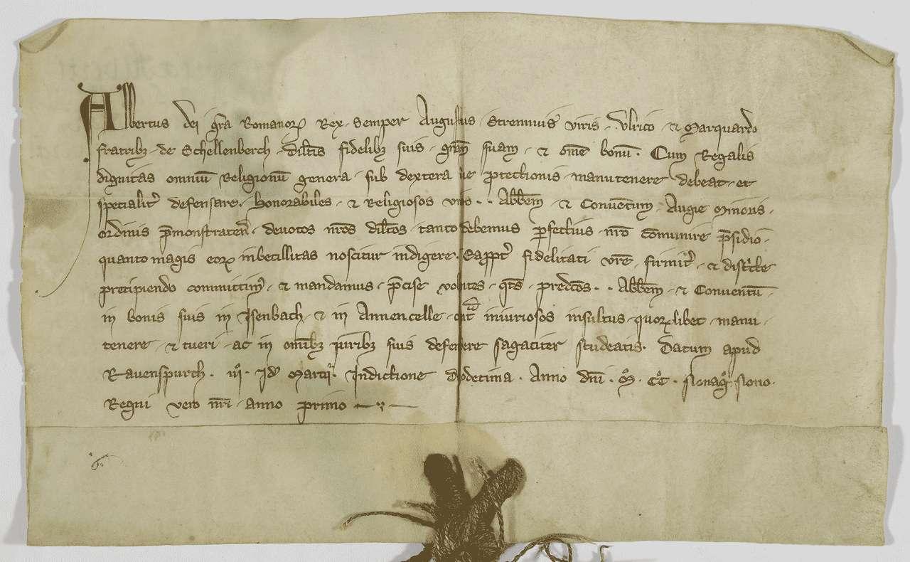 König Albrecht befiehlt seinen lieben Getreuen Ulrich und Marquard von Schellenberg das Kloster Weißenau in seinen Besitzungen in Eisenbach und Amtzell zu schützen., Bild 1