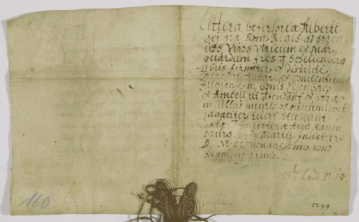 König Albrecht befiehlt seinen lieben Getreuen Ulrich und Marquard von Schellenberg das Kloster Weißenau in seinen Besitzungen in Eisenbach und Amtzell zu schützen., Bild 2