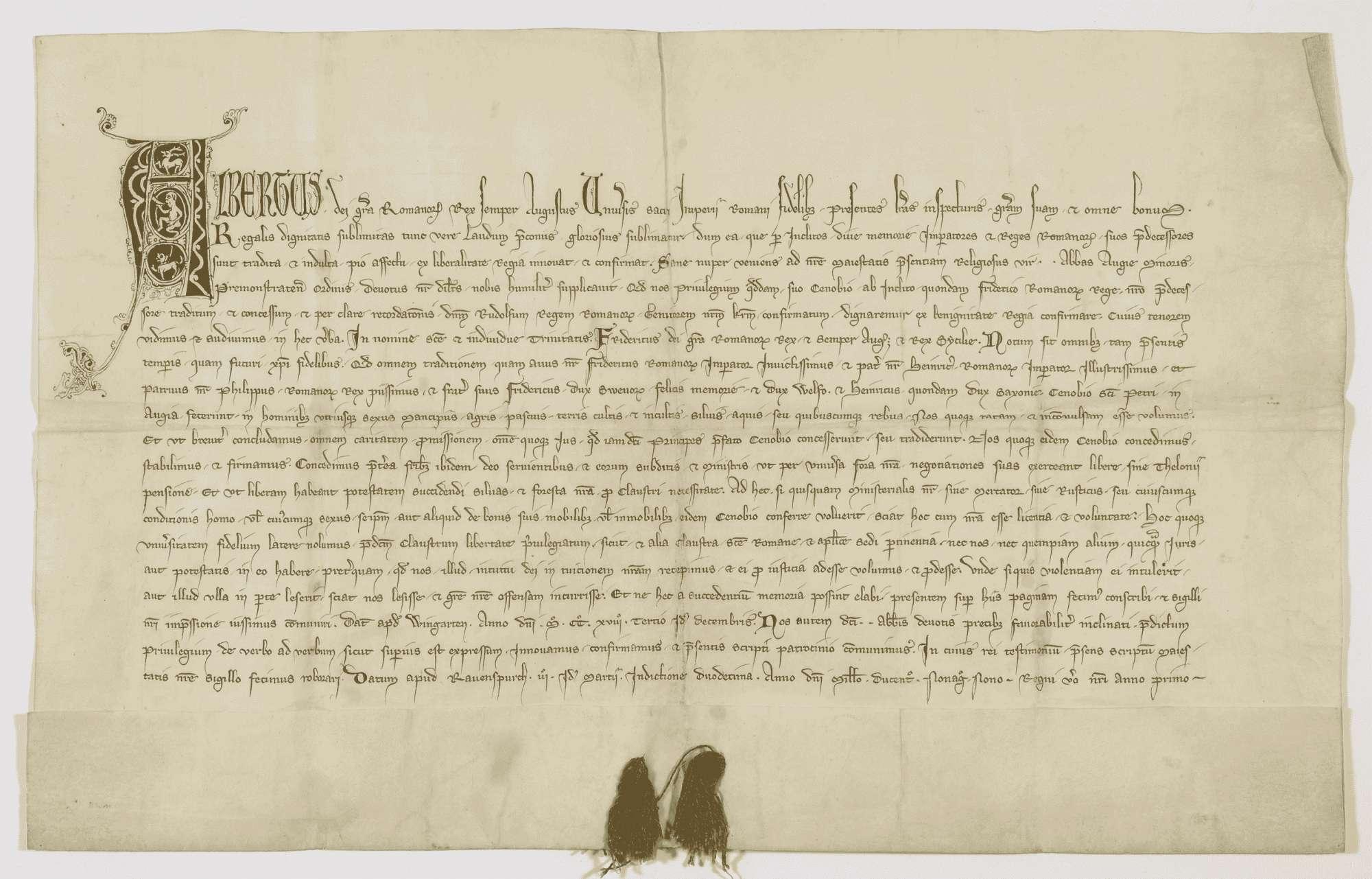 König Albrecht bestätigt dem Kloster Weißenau das eingerückte Privilegium König Friedrichs II. von 1218 Dezember 11., Bild 1