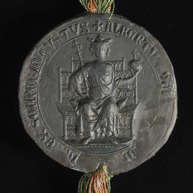 König Albrecht bestätigt dem Kloster Weißenau das eingerückte Privilegium König Friedrichs II. von 1218 Dezember 11., Bild 3