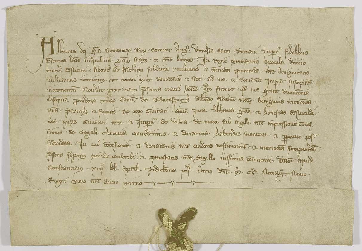 König Albrecht verleiht der Stadt Ravensburg auch die neuen Freiheiten, die er Ulm gegeben hat., Bild 1