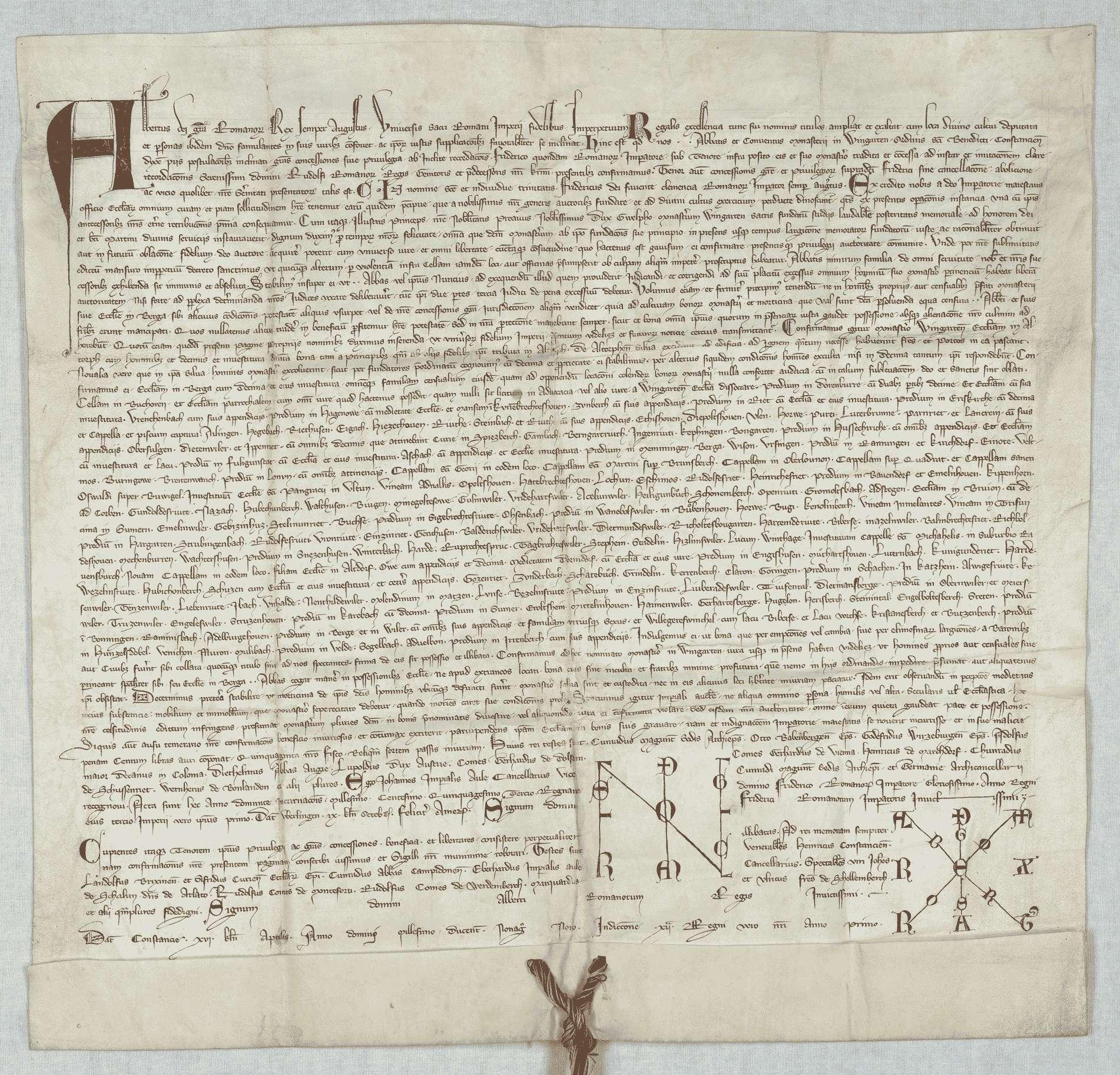 König Albrecht bestätigt dem Kloster Weingarten den wörtlich eingerückten Schirmbrief Kaiser Friedrichs I. von 1155 September 23., Bild 1