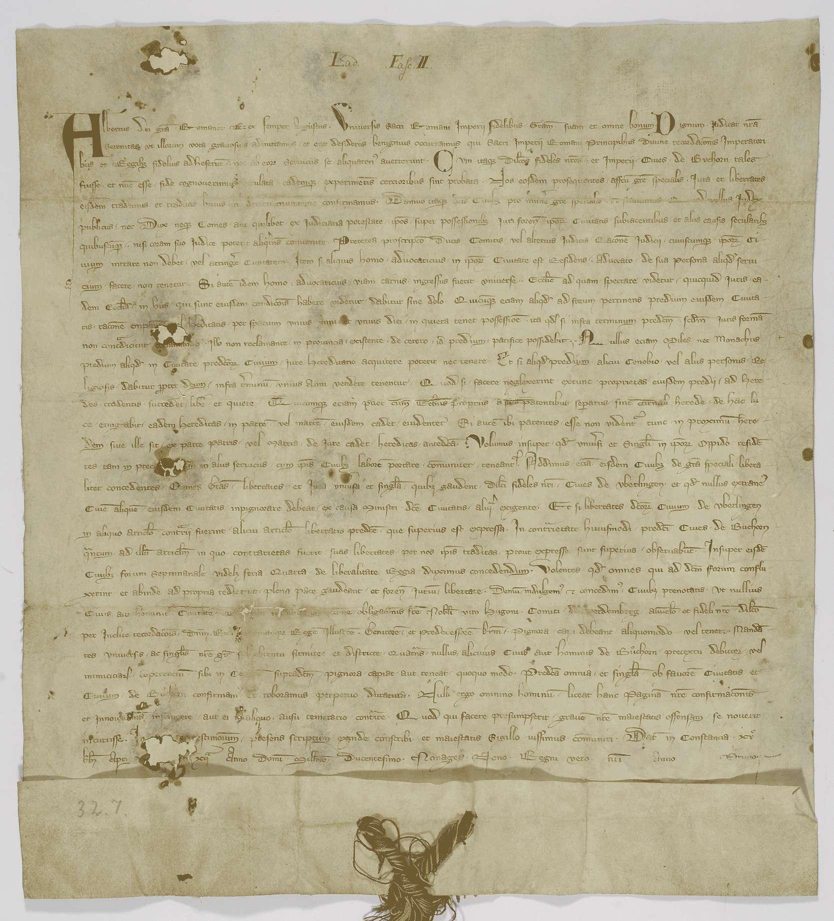 König Albrecht bestätigt der Stadt Buchhorn ihre Rechte und verleiht ihr das Recht von Überlingen und einen Wochenmarkt., Bild 1