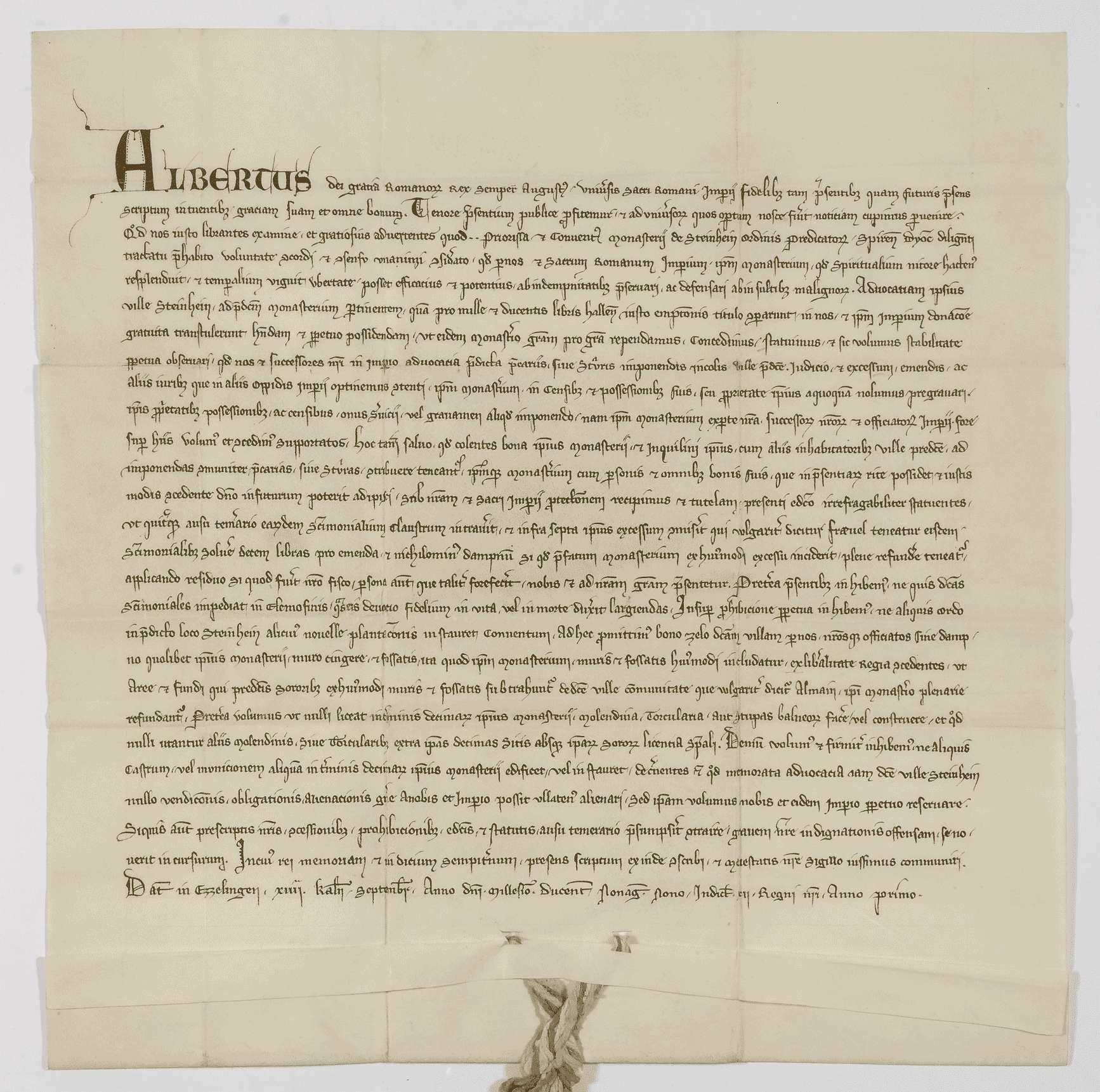König Albrecht übernimmt die Vogtei des Klosters Steinheim und setzt seine und des Klosters Rechte fest., Bild 1