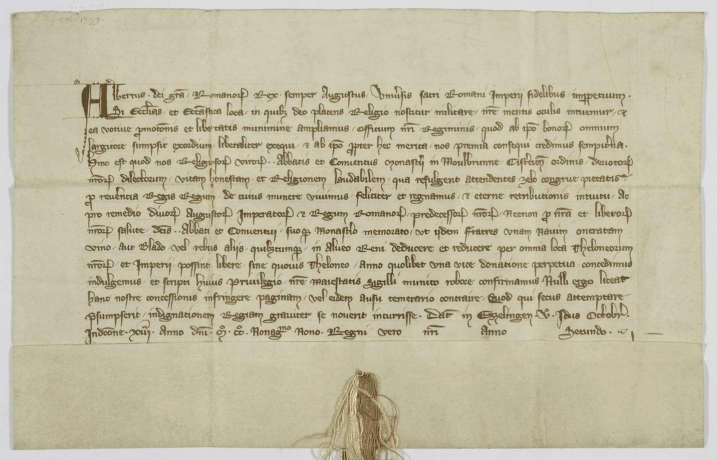 König Albrecht erlaubt dem Kloster Maulbronn alljährlich einmal auf dem Rhein ein mit Wein oder Getreide beladenes Schiff zollfrei tal- und bergwärts führen zu dürfen., Bild 1