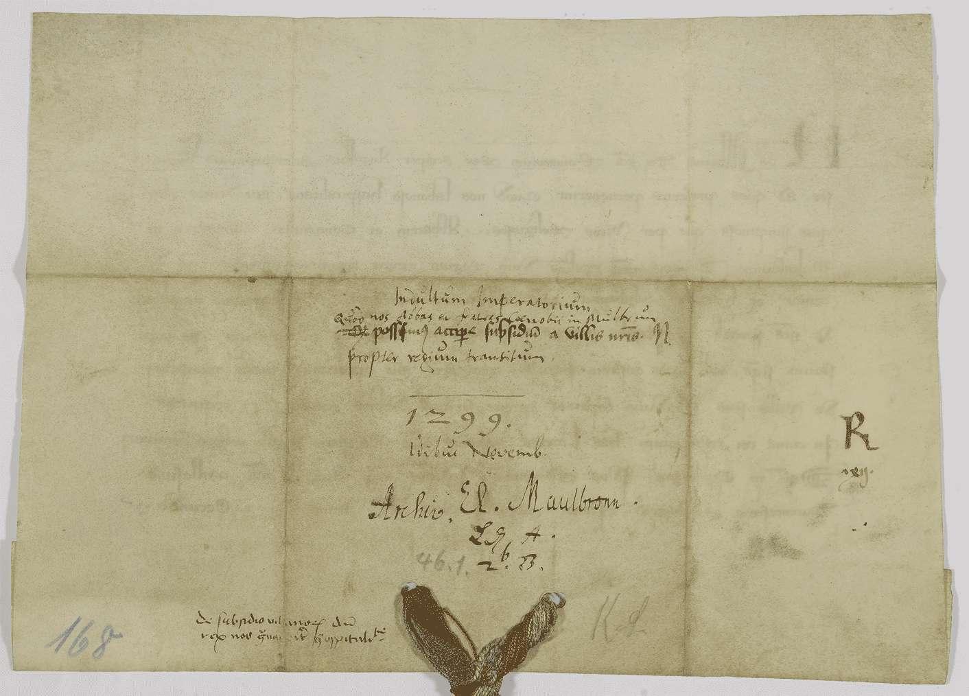König Albrecht erlaubt dem Kloster Maulbronn, die Kosten, die ihm der Durchzug des Königs verursacht, auf seine Dörfer umzulegen., Bild 2