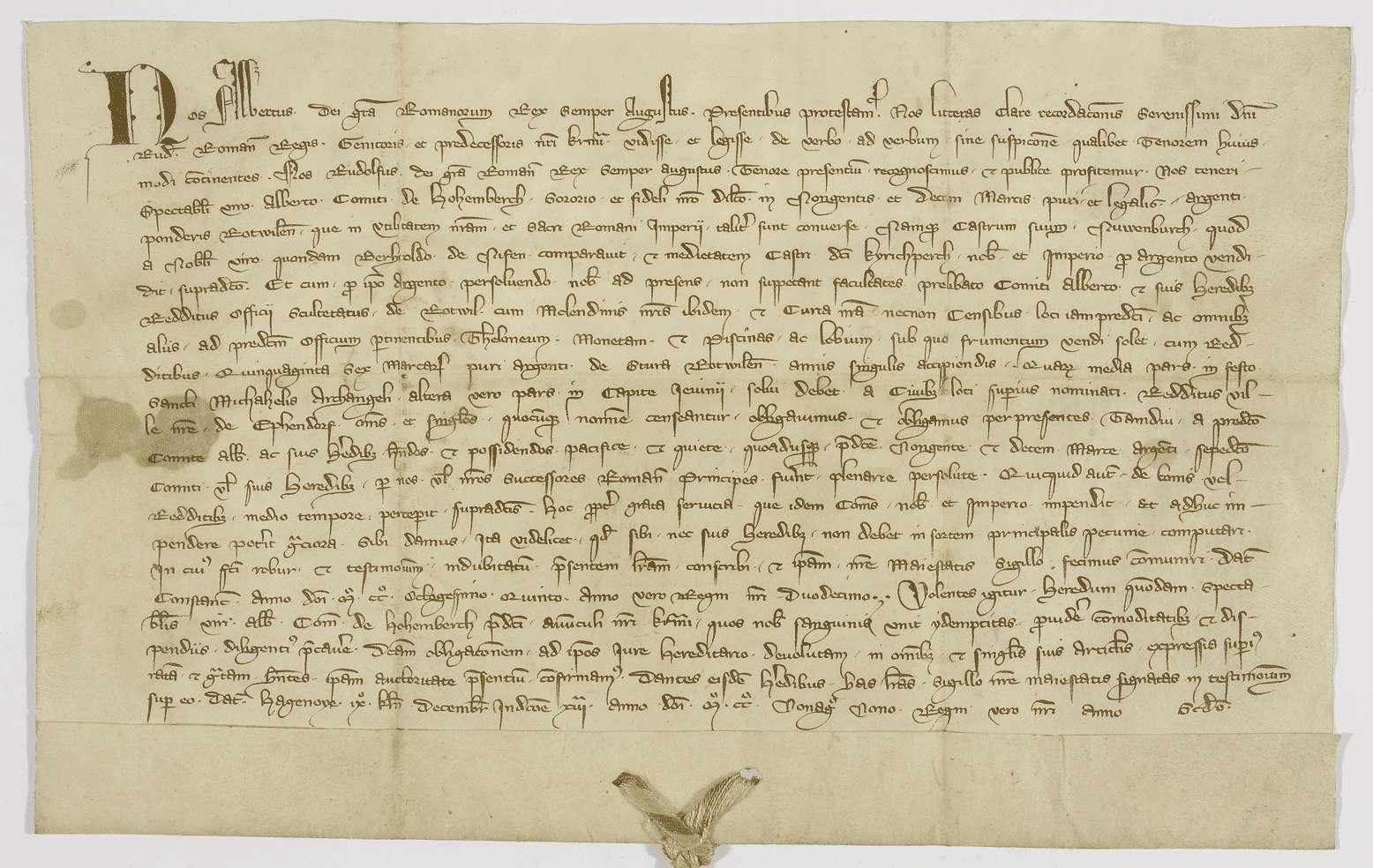 König Albrecht bestätigt den Erben des Grafen Albert von Hohenberg die Verpfändung der Einkünfte in Rottweil nach dem Vorgang König Rudolfs., Bild 1