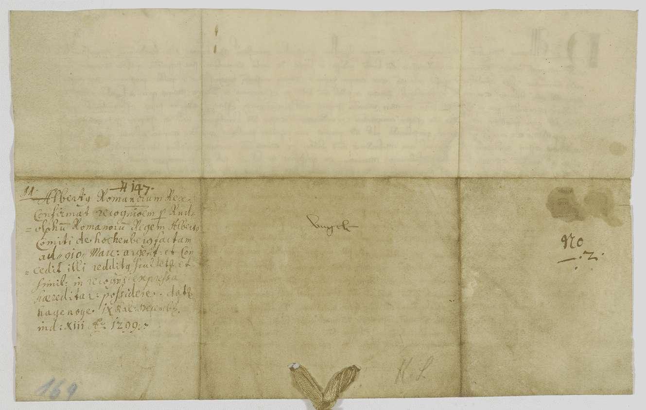König Albrecht bestätigt den Erben des Grafen Albert von Hohenberg die Verpfändung der Einkünfte in Rottweil nach dem Vorgang König Rudolfs., Bild 2