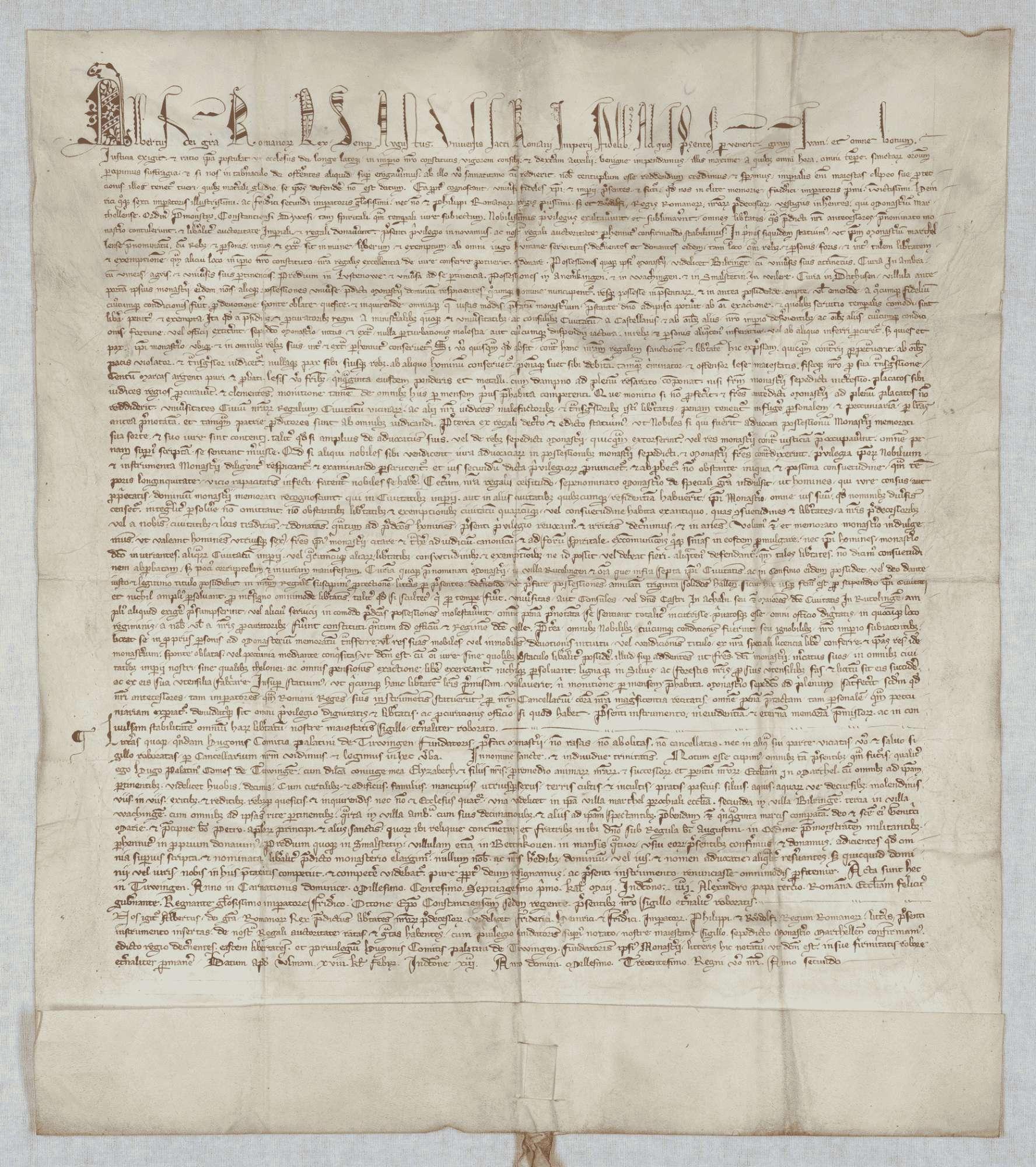 König Albrecht erneuert und bestätigt dem Kloster Marchtal alle seine Privilegien und vidimiert die Stiftungsurkunde von 1171 Mai 1., Bild 1