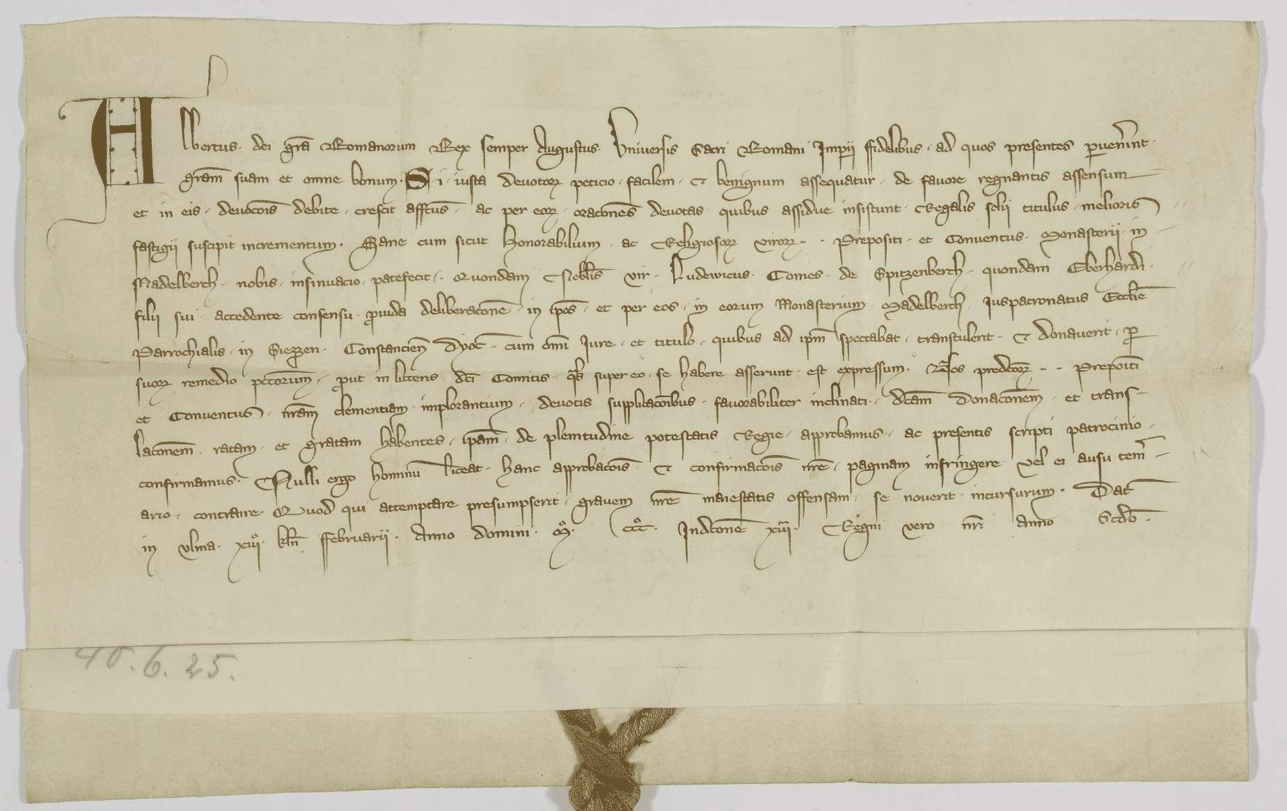 König Albrecht bestätigt dem Kloster Adelberg den Besitz der von Graf Ludwig von Spitzenberg ihm geschenkten Kirche in Süßen., Bild 1