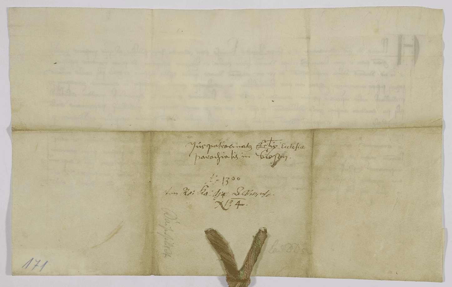 König Albrecht bestätigt dem Kloster Adelberg den Besitz der von Graf Ludwig von Spitzenberg ihm geschenkten Kirche in Süßen., Bild 2