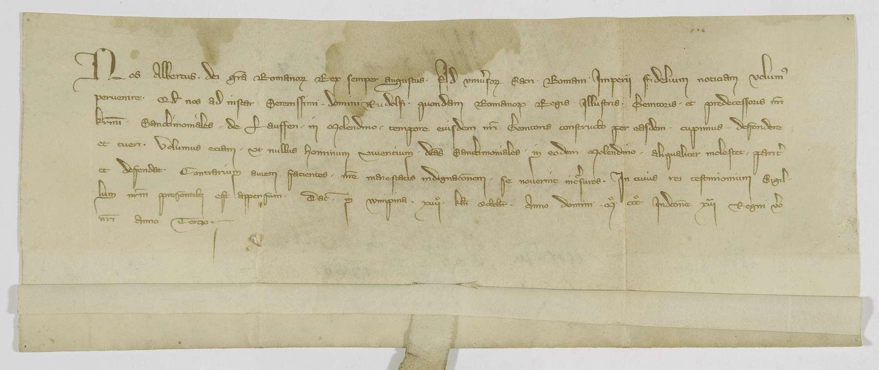 König Albrecht nimmt die Mühle des Klosters Lauffen in seinen Schutz., Bild 1