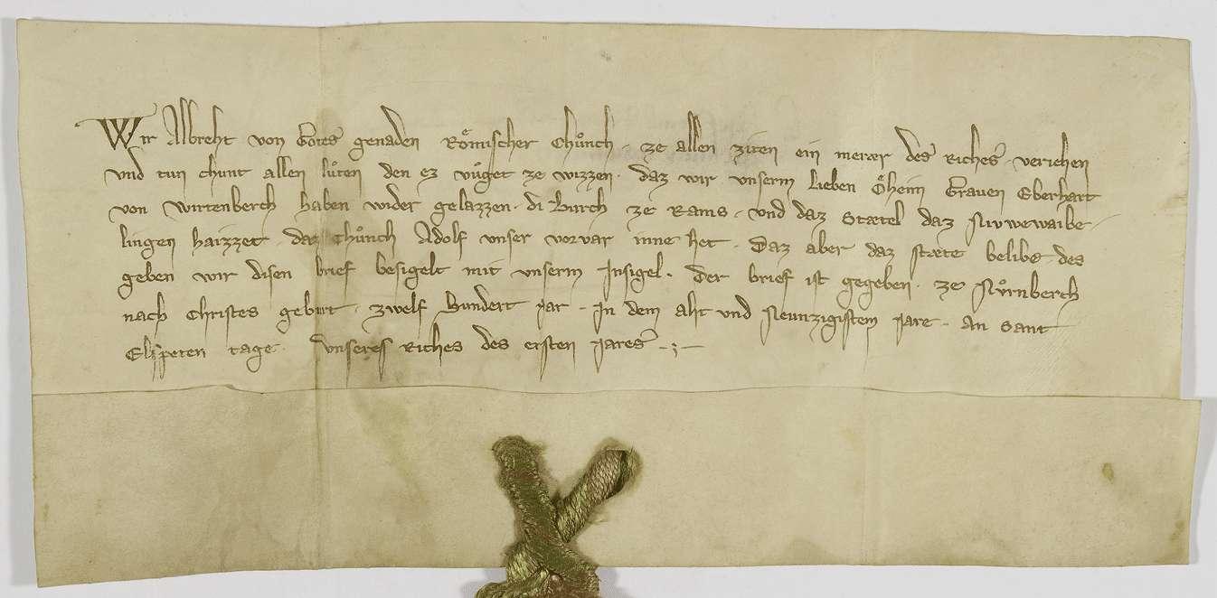 König Albrecht gibt dem Grafen Eberhard von Württemberg die Burg Rems und das Städtchen Neustadt bei Waiblingen (Niuwe Waibelingen) zurück., Bild 1