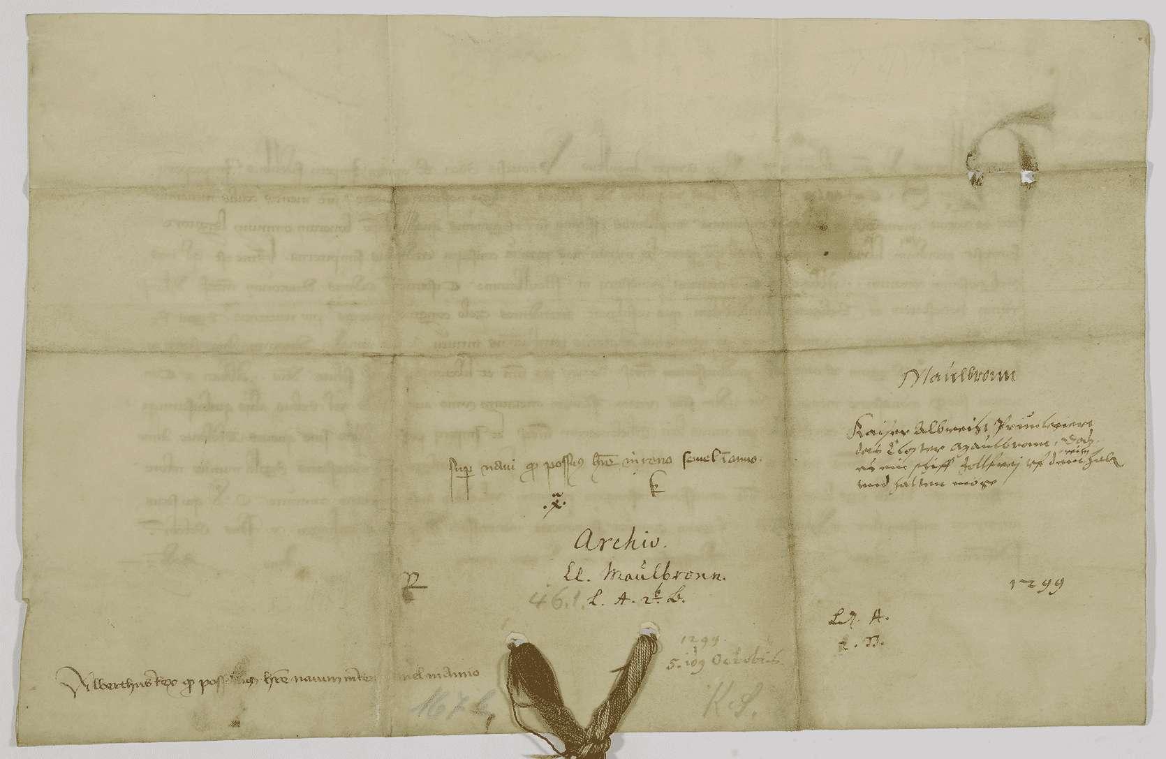 König Albrecht erlaubt dem Kloster Maulbronn alljährlich einmal auf dem Rhein ein mit Wein oder Getreide beladenes Schiff zollfrei tal- und bergwärts führen zu dürfen., Bild 2