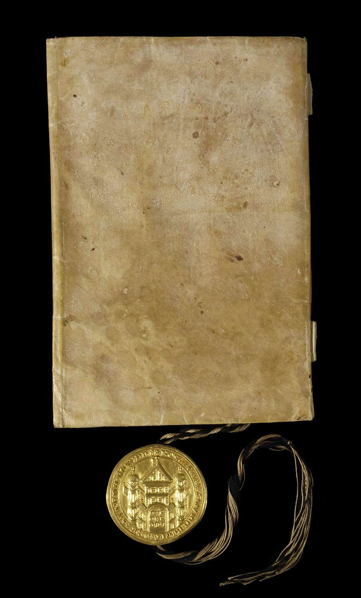 Kaiser Karl publiziert die ersten dreiundzwanzig Kapitel der Goldenen Bulle., Einband Rückseite