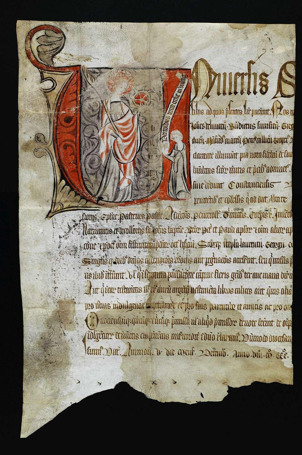 Ablass von Bischöfen für die Kirche in Unlingen (Katharinenkaplanei)., Bild 1