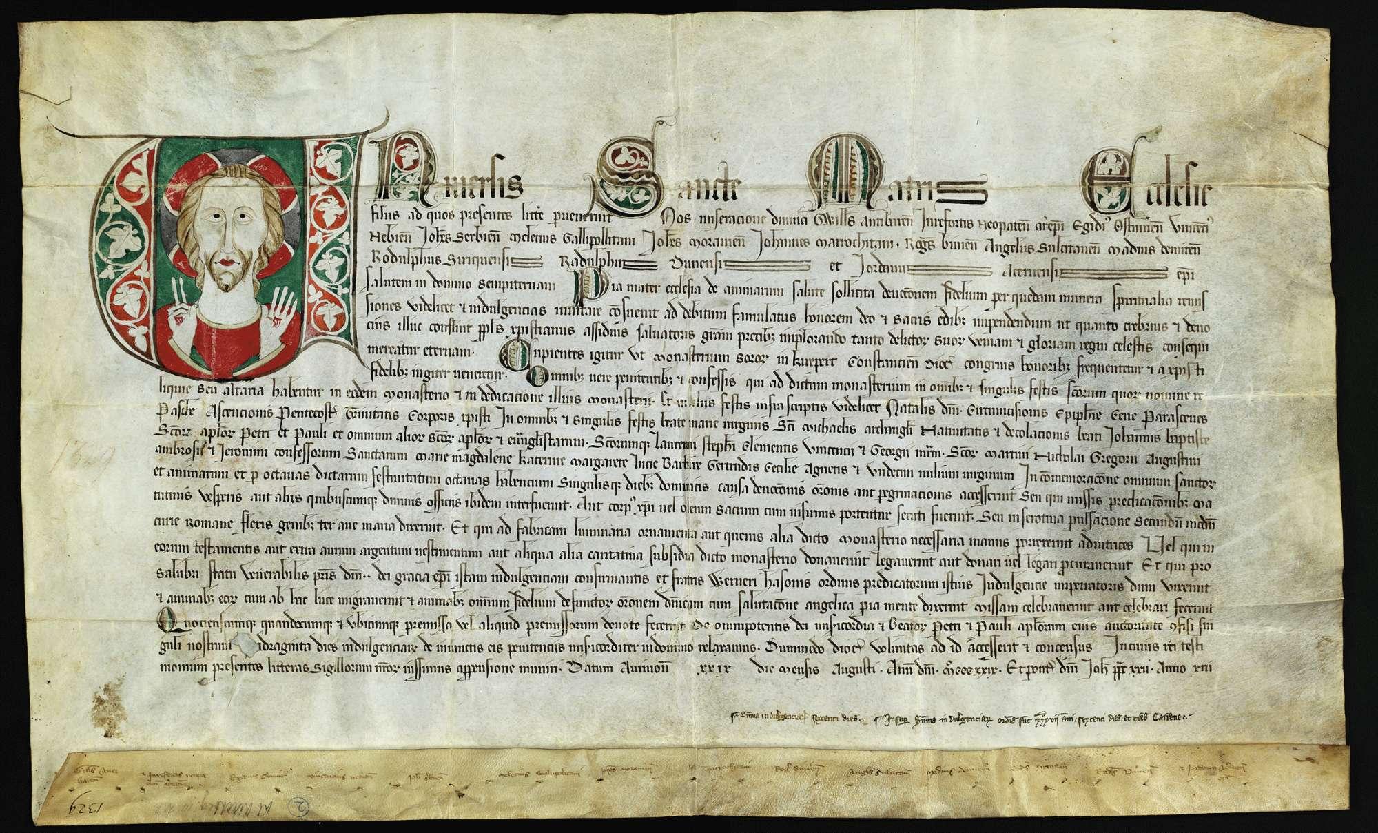 Ablass von 2 Erzbischöfen und 12 Bischöfen für das Kloster Kirchberg., Bild 1