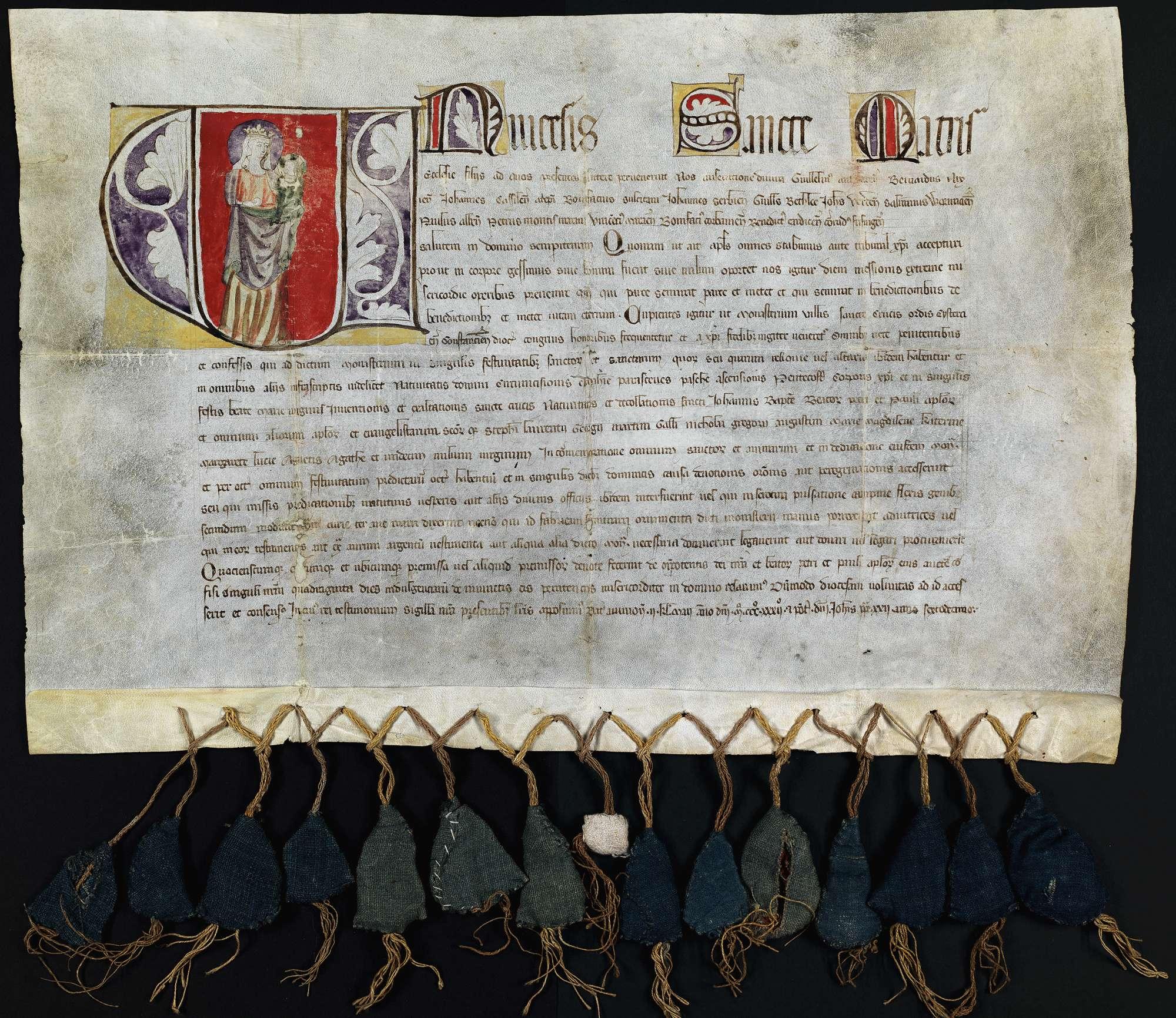 Ablass von 14 Erzbischöfen und Bischöfen für das Zisterzienserinnenkloster Heiligkreuztal., Bild 1